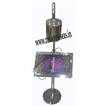 Stainless Steel Table Top Name Tag Stands With Focus Lamp