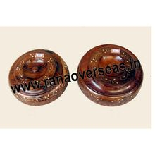 Wooden Brass Inlay Leaf Round Choclate Boxes Set