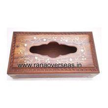 Wooden Carved Brass Inlay Tissue Box