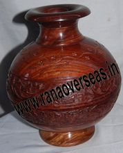Wooden Carved Flower Vase