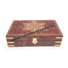 Wooden Carving Brass Inlay Square Shape Choclate Box