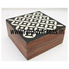 Wooden Handcrafted White Inlay Square Shape Box