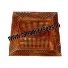 Wooden Jali Cut Square Shape Brass Inlay Tray