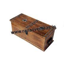 Wooden Plain Antique Long Wine Bottles Box