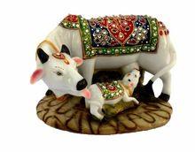 Decorative Marble Dust Polyresin Kamdhenu Cow And Calf Big Statue Idol