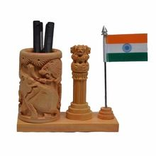 Jaipur Rajasthan Ashok Sthamb Indian Flag Wooden Pen Stand