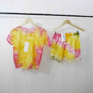 Two Piece Tops And Shorts Tie Dye Casual Dress