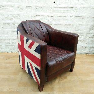 Industrial Leather Union Jack Leather Armchair Sofa