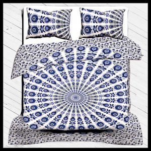 Duvet Cover Set, 100% Cotton Bedding Set Indian Traditional Print Queen Size With Pillow Cover