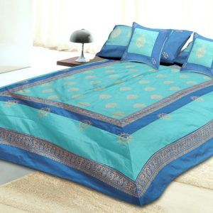 Set of 5pc Silk Double Bedspread 300 TC With 2 Pillow And 2 Cushion Covers