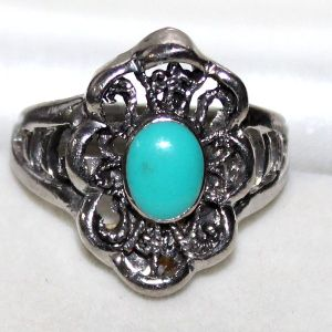 German Silver Fancy Turquoise Gemstone Oval Designer Ring