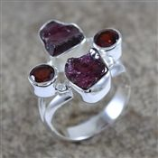 925 Sterling Silver Rough Garnet Ring Jewelry