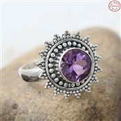 Flower Amethyst Faceted Gemstone Silver Ring