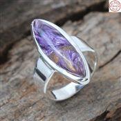 Purple Charoite Gemstone Sterling Silver Ring