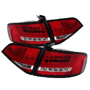 Audi A4 4D 08-12 LED TAIL LAMP EURO TYPE, LED INDICATOR (REDCLEAR LENS) FOR OE LED TYPE (Premium Car Accessories) DealKarDe