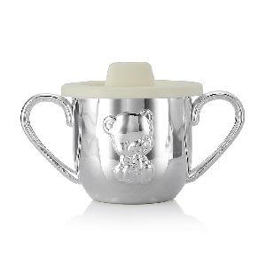 Silver Colored Baby Teddy Sipper Cup For Kids