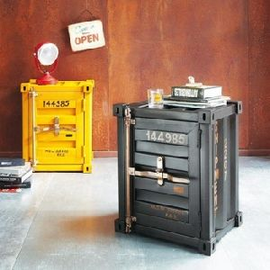 Industrial Container Style Bed Side Table