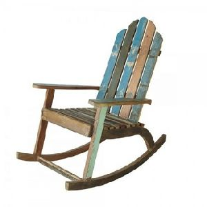 Reclaimed Rustic Solid Wood Natural Colour Finish Rocking Chair