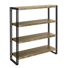 Vintage Industrial Iron Base Solid Wood Four Slab Bookshelf