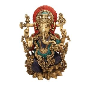 Turquoise Coral Stone Finish Ganesh Sculpture