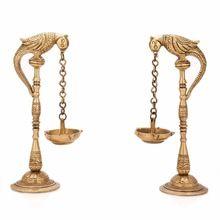 Pair Of Bird Diya Oil Lamp Stand Holder Brass