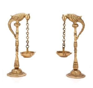 Brass  Bird Diya Oil Lamp Stand Holder