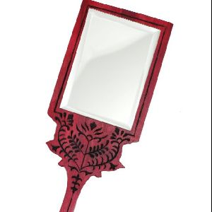 Wooden Handheld Face Mirror