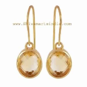 Sterling Silver Citrine Gemstone Gold Plating Earring Jewelry