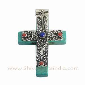 Sterling Silver Turquoise Multi Gemstone Cross Pendant Jewelry