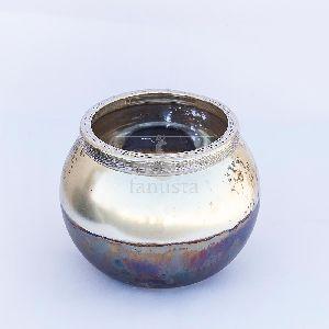 Decorative Gold Leaf Silver Glass T-light Holder