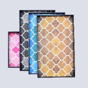 Rectangular Geometrical Moroccan Pattern Mdf Wood Tray