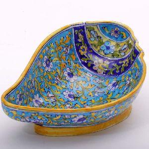 Shell Shaped Blue Pottery Bowl