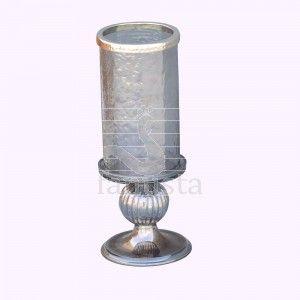 Smokey Glass Pillar Candle Holder