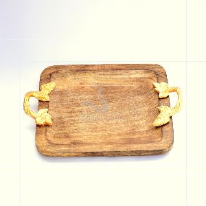 Square Wooden And Aluminium Serving Tray