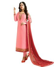 Casual Party Wear Heavy Embroidery Satin Salwar Kameez Suit