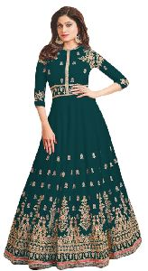 Justkartit Heavy Embroidery Long Flairs Anarkali Semi Stitched Suits
