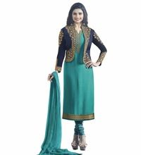 Semi-stitched Dress Material Salwar Kameez For Casual Party Wear