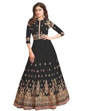 Women Stylish Black Color Georgette Embroidery Anarkali Dress