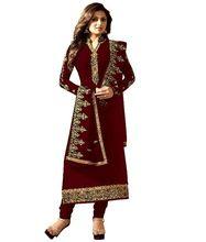 Women Stylish Heavy Embrodiery Salwar Kameez Straight Cut Suit