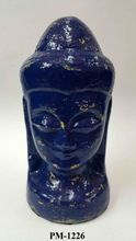 Recycled Paper Mache Blue Gold Finish Gautam Budha Head