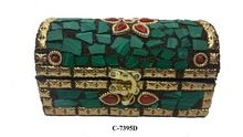 Treasure Wooden box With Green Stone