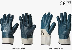 Nitrile Heavy Coated Gloves With Safety Cuff (safe Man)