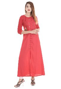 Best Designer Long Pattern Red Colored Cotton Fabric 3/4 Size Sleeves Party Wear Kurti Dress