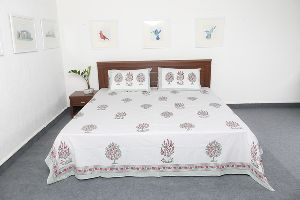 Cotton Fabric Block Printed Full Size Bed Sheets Vidbs9032