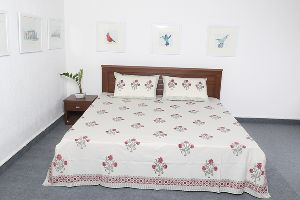 Hand Block Printed Cotton Bed Sheet With 2 Pillow Covers Vidbs9030