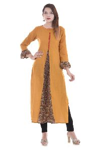 Ladies Long Pattern Cotton Fabric Designer Kurti Kurta For Women