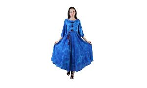 Latest Designer Printed Long Pattern Blue Color Cotton Fabric 3/4 Size Sleeves Women\'s Dress
