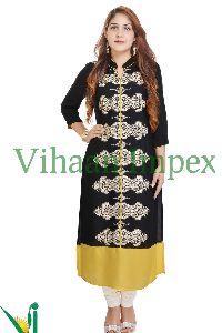 Vihaan Impex Printed Black Colored Cotton Casual Kurtis