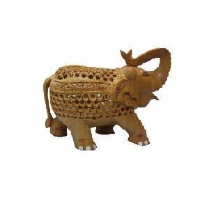 Wooden Handicraft Undercut Salute Position Elephant