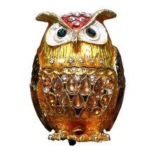 Zinc Alloy Owl White Stone Studded